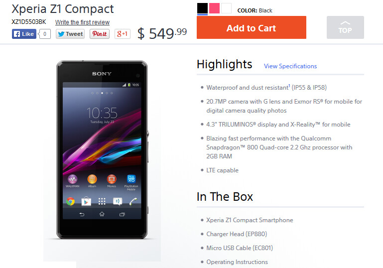 Buy the Sony Xperia Z1 Compact in the U.S. from Sony - Now in the states, the Sony Xperia Z1 Compact is available from the manufacturer's website
