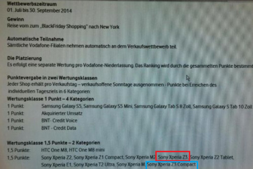Internal document from Vodafone Germany indicates that the Xperia Z3/Z3 Compact may be released in September