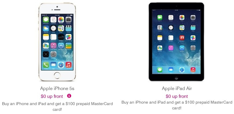 T-Mobile gives you $100 if you buy an iPhone and iPad together