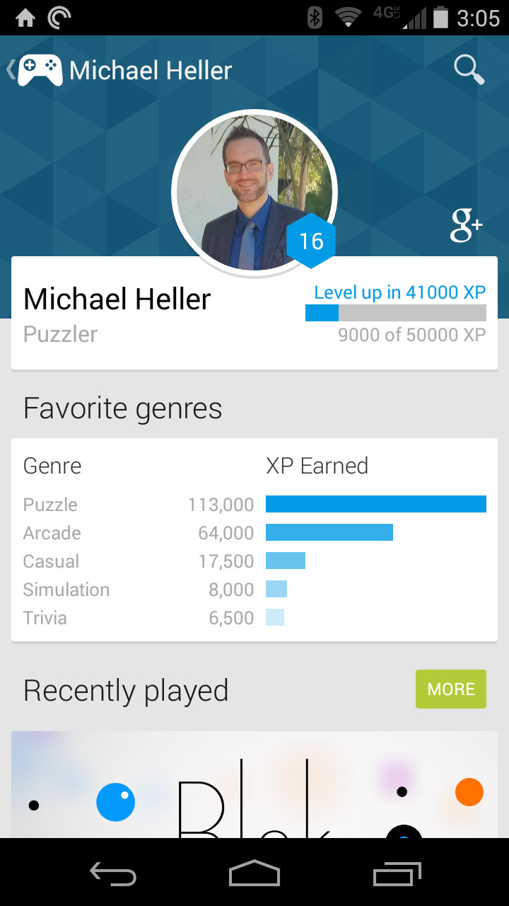 Google Play Games update adds Game Profile to track XP and quests