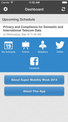 Screenshots from the Super Mobility Week app