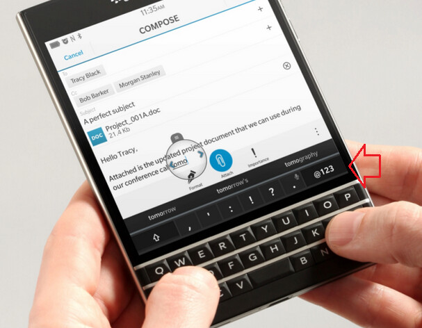 Check out the virtual keys on the BlackBerry Passport's QWERTY keyboard - The BlackBerry Passport QWERTY revealed
