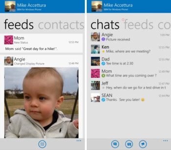 Screenshots from BBM for Windows Phone