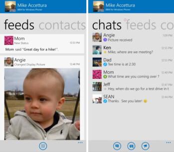 Screenshots from BBM for Windows Phone