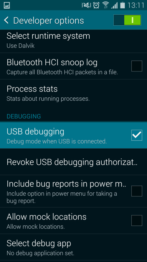 Once you're in the developer options, find USB debugging and check it