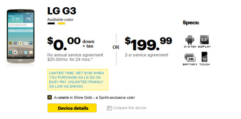 Buy the LG G3 from Sprint today; use Easy Pay and score a $150 gift card