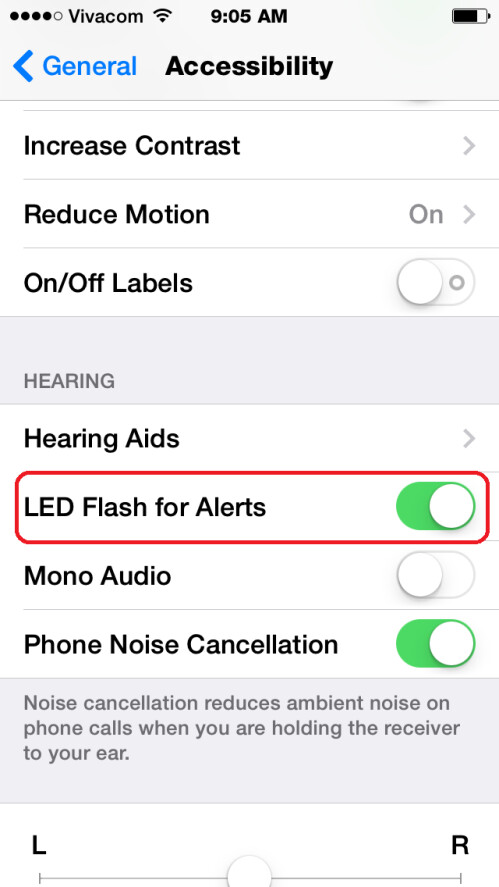 Enable the LED Flash for Alerts option. Voila, you're done!