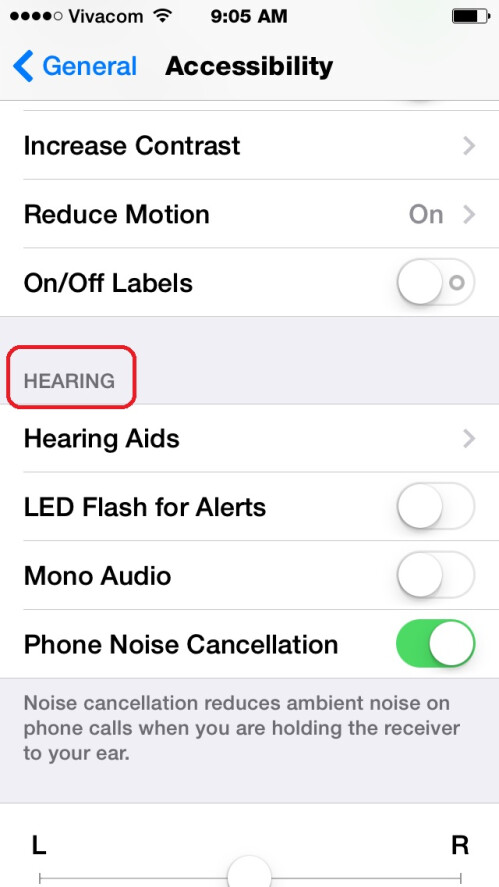 Scroll down to the Hearing tab
