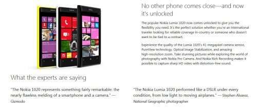 Unlocked version of Nokia Lumia 1020 in black, is available from the online Microsoft Store