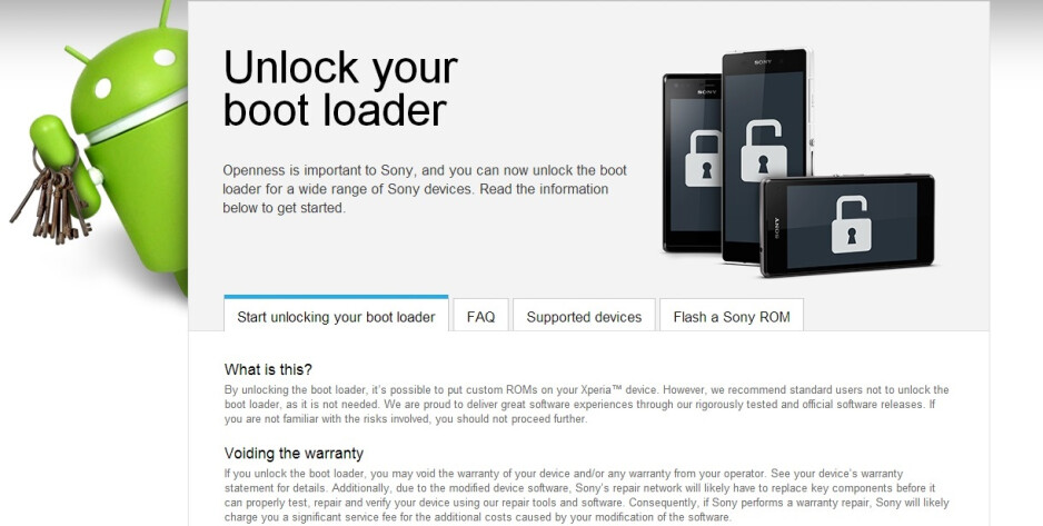 """Sony makes unlocking the Xperia bootloader a """"1-2-3-Go!"""" process"""