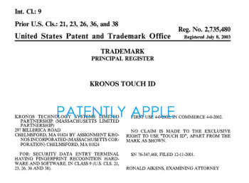 The USPTO refuses to give Apple a trademark for Touch ID due to this already registered name from Kronos