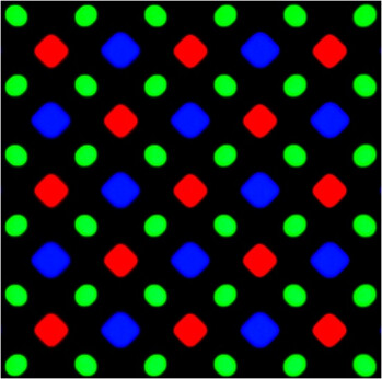 Diamond pixel matrix used in Samsung's AMOLED displays