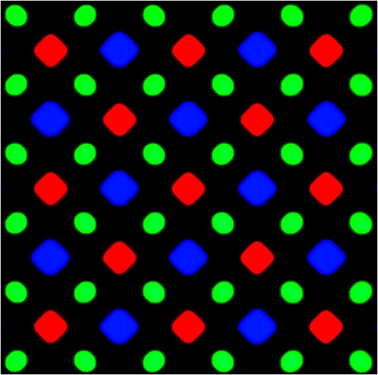 Diamond pixel matrix used in Samsung's AMOLED displays - Samsung's first AMOLED Quad HD display gets analyzed: further improved color accuracy, not that green any more
