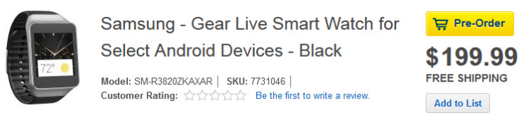 Pre-order the Samsung Gear Live from Best Buy - Best Buy accepting pre-orders for Samsung Gear Live