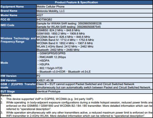 Motorola 4027 at the FCC