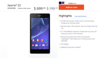 Take $50 off the price of the Sony Xperia Z2 from Sony's U.S. website
