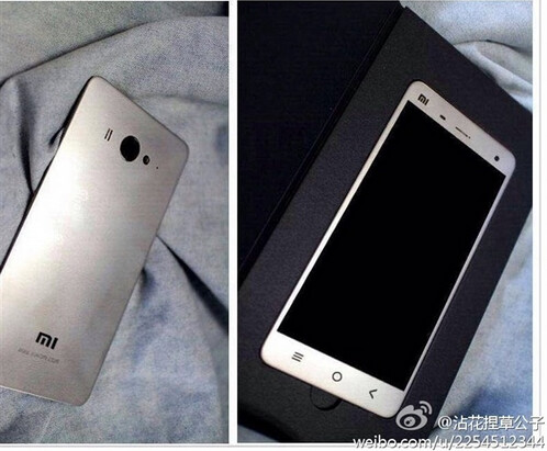 Photos allegedly show the back and front of the Xiaomi Mi4 - Xiaomi Mi4 poses for new pictures; is the back plate plastic or metal? (It's plastic!)