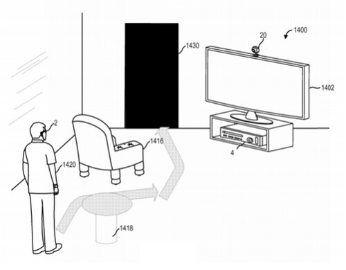 Patent merges the real and virtual world on a pair of connected specs, so that real word obstacles appear in a virtual game