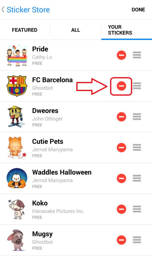 Press the red sign icon in order to delete the corresponding sticker pack.