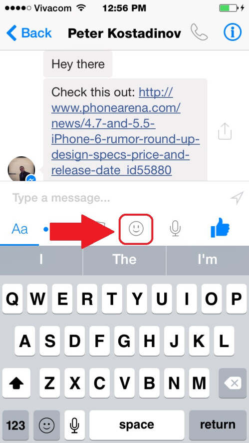 Go to the sticker menu by tapping the smiley icon, which is below the text field you input text in.