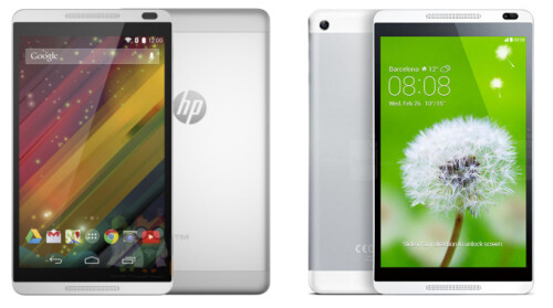 HP Slate 8 Plus to the left, compared to Huawei MediaPad M1 to the right
