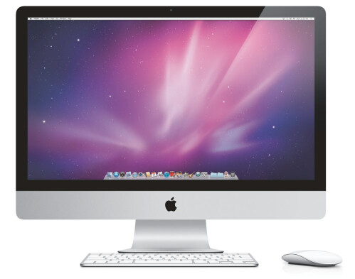 iMac with a stripe on the bottom and centrally-positioned logo