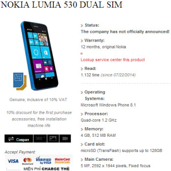 Alleged dual SIM Nokia Lumia 530 revealed by Vietnamese retailer