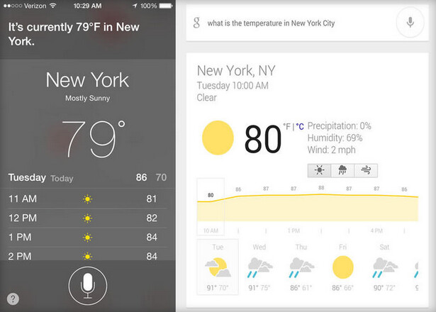 Munster gave Siri (L) a C+ and gave a B to Google Now - Munster: Google Now more accurate than Siri