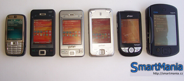 from left to right are HTC Vox, Eten X500+, X500, M700, M600+, HTC Universal - Eten X500+ has VGA display