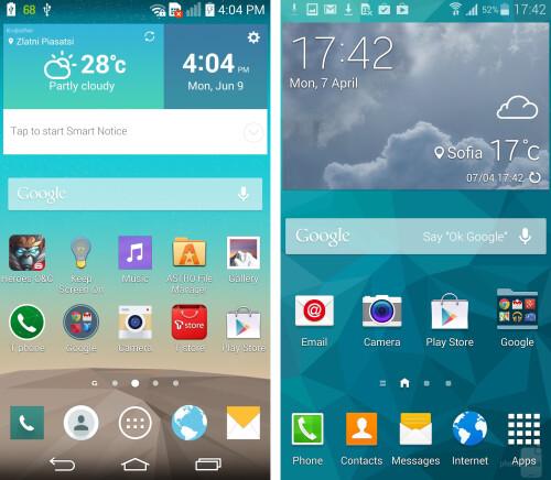 G3 (left), Galaxy S5 (right)