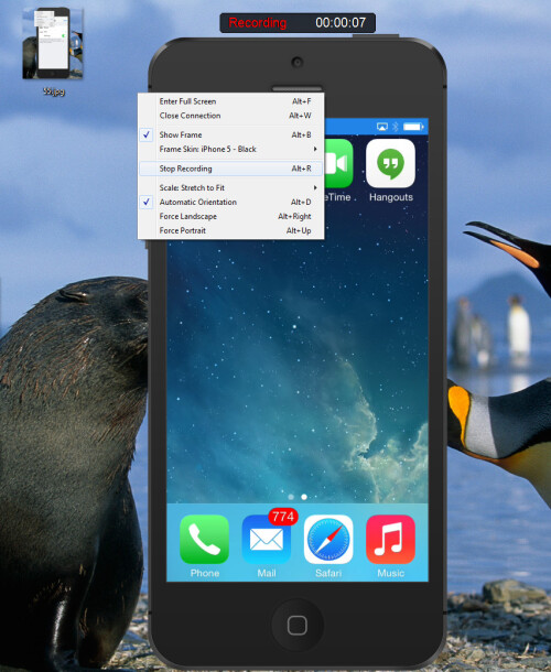 Right away, you should see a picture of your iOS device mirrored on your Windows/Mac