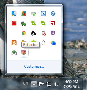 It will appear in the taskbar on Windows (running in the background initially)