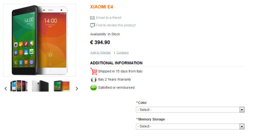 Xiaomi Mi4 can be pre-ordered in Italy