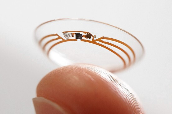 The contact lens that some of the initial 175 people being tested will wear to gather glucose data on a continuous basis. - Project Baseline: Google's quest to collect medical data, shape human health