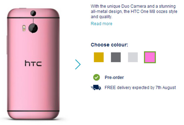 Pre-order the pink HTC One (M8) from the U.K.'s Carphone Warehouse - Pre-order the pink HTC One (M8) from Carphone Warehouse and get a free Dot View case