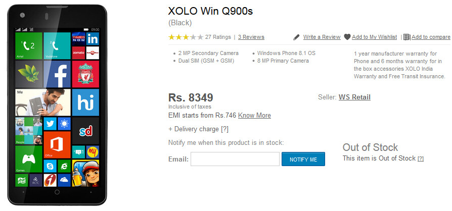 Some Flipkart customers who ordered the Xolo Q900S with the Windows Phone 8.1 OS, received an Android powered model by mistake - Flipkart customers order the Windows Phone 8.1 powered Xolo Q900S, receive Android model instead
