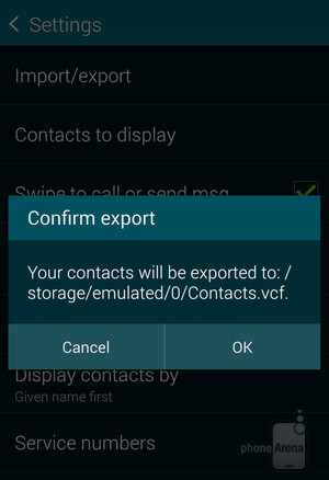 Export your Android contacts