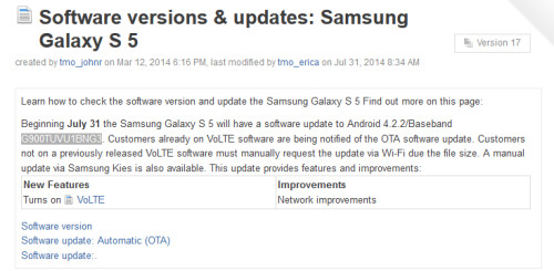 T-Mobile's Samsung Galaxy S5 is updated to turn on support for VoLTE