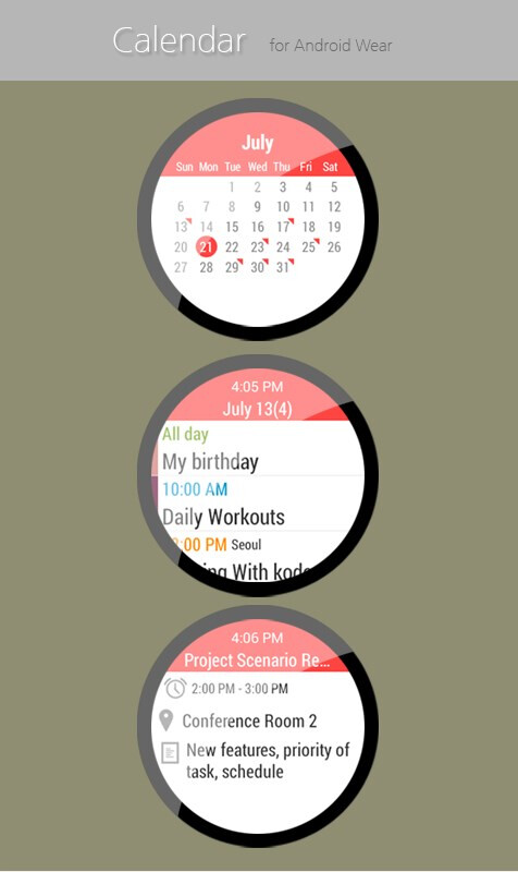 Calendar for Android Wear ($1.96 premium version)