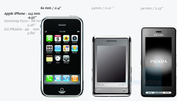 Apple iPhone, Samsung P520 and LG Prada