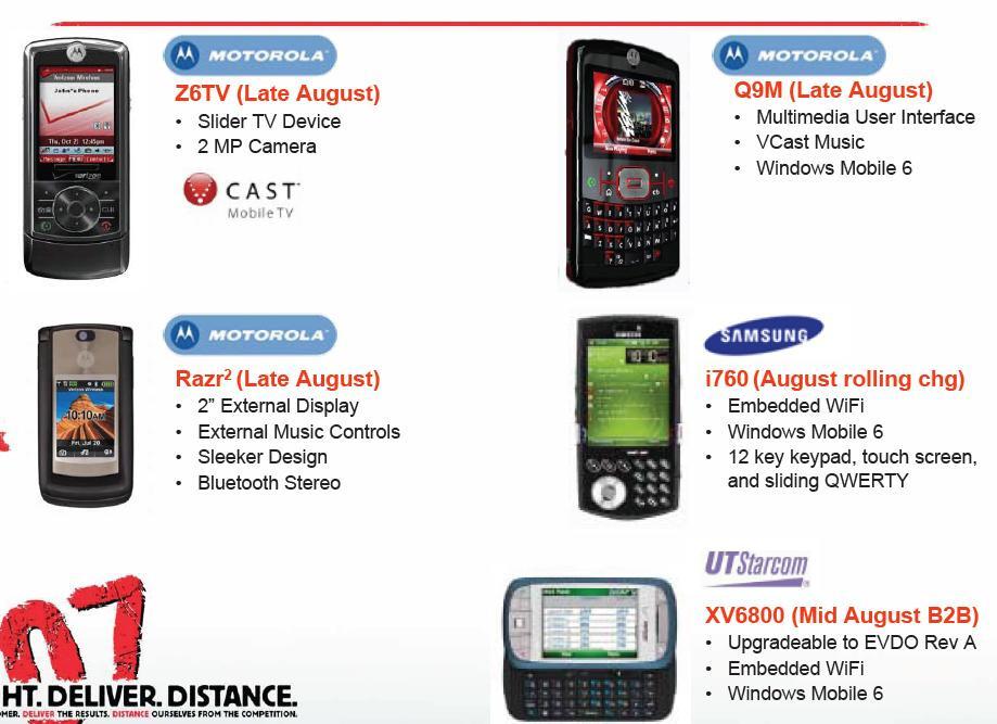 Leaked Verizon Product Line Image - Verizon to get 5 new phones