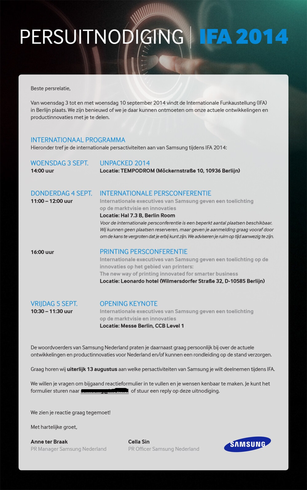 Samsung sends press invites for Galaxy Note 4 UNPACKED ...