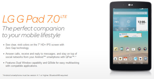 LG G Pad 7.0 LTE launched by AT&T, costs $0.99 if you bundle it with the LG G3, G2, or G Flex