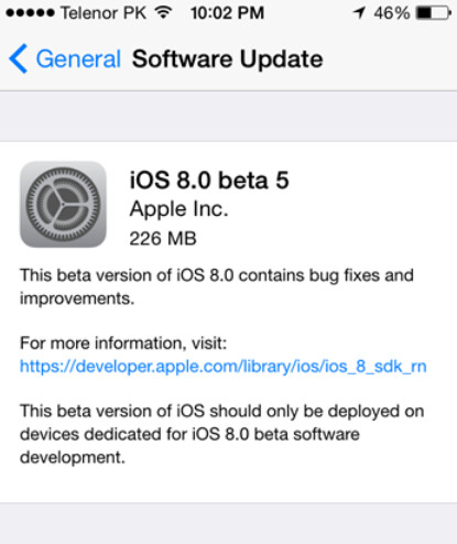 Apple releases iOS 8 beta 5 for developers