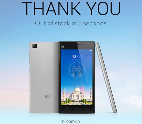 Xiaomi Mi 3 sells out in 2 seconds in India