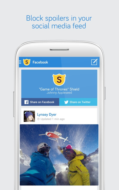 Spoiler Shield shields your Facebook and Twitter feed from sports games and TV show spoilers