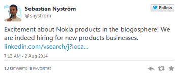 Nokia confirms that it is looking to hire for the production of new consumer products