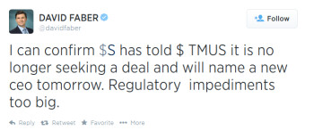 Tweet says Sprint is abandoning its deal for T-Mobile, and will replace Dan Hesse as CEO