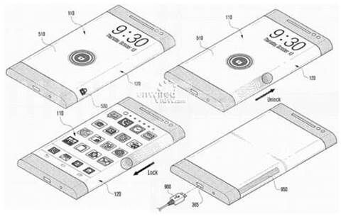 Drawing shows one possible design for Samsung's flexible-display phone - Samsung allegedly starts testing of futuristic flexible-display phone