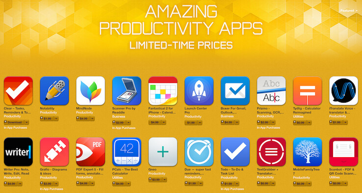 Apple has cut the price of twenty productivity apps in the App Store - Twenty iOS productivity apps go on sale by Apple